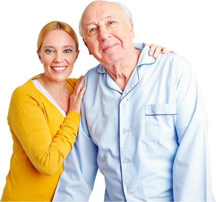 caregiver holding the shoulder of patient