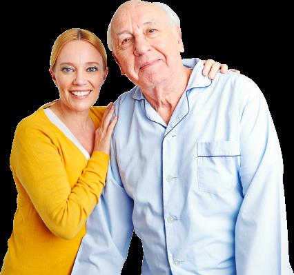 caregiver holding the shoulder of patient